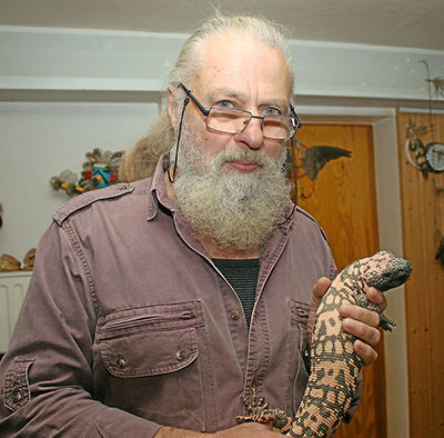 Doctor Schwandt with a Gila Monster